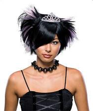 Emo Princess Wig Goth Rave Punk Black White Halloween Adult Costume Accessory