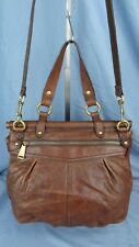 FOSSIL BROWN LEATHER CONVERTIBLE SHOULDER TOTE BAG