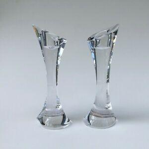Pair of ORREFORS SWEDEN candlesticks BEAUTIFUL excellent