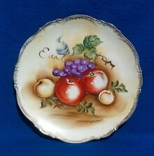 """Beautiful Hand Painted Signed Vintage Porcelain Fruit Plate 10 1/2"""""""