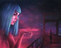 Movie Art, Painting by Alex Kerr, Blade runner, Neon lights, Sci-fi, City, Pink