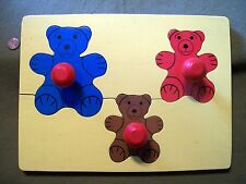 Vintage Wooden Tray 3 piece Bear Puzzle with Handles