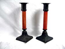 Antique Pair Of Arts & Crafts Candlesticks Great Quality Attractive Wood Stems