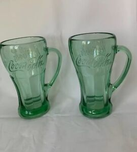 Libbey 2 Coca Cola Glasses 14 Oz With Handles Green 1 NWT, 1 NWOT Unused