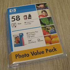 HP 58 Photo Inkjet Cartridge Photo value Pack 45 Sheets of 4x6 Photo Paper