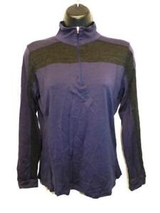 Ibex M Dark Purple Gray Merino Wool Shirt Zip Mock Neck Womens Base Layer Md