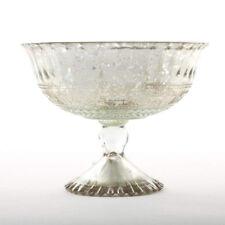 "SNK Enterprises Mercury Glass Compote Bowl in Silver 5"" Tall x 7"" Diameter"