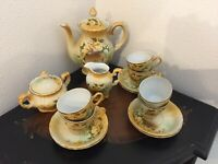 Antique RS Prussia Tea Set Gold and Brown Flora. Pristine condition