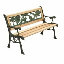 BENCH GARDEN CHILDRENS JUNGLE BENCH WOODEN 3 SEATER SLOTTED IRON CAST OUTDOOR