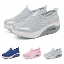Womens Fashion Breathable Slip On Wedge Heel Sneakers Shoes Fitness Walking 42