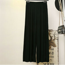 Womens Trendy Long Loose Pants Pleated Chiffon Wide-leg Casual Trousers Culottes