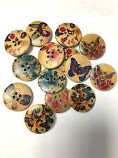 100 Butterfly Print Wooden Buttons - 6 designs - Job lot Clearance