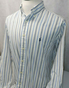 Ralph Lauren Yarmouth White Striped L/S Button Down Cotton Dress Shirt Mens 15.5