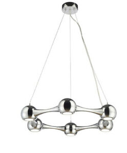 6576 Perivale 6 way Suspension light in chrome with replaceable LED bulbs
