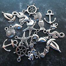 20 Tibetan Silver Mixed Sea Theme Pendant Charm Boat Fish Shell Starfish