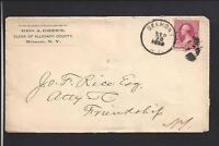 BELMONT, NEW YORK, 1890,#220 COVER ADVT. CLERK OF ALLEGHANY CO. 1859/OP.