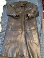Eddie Bauer Long Black LEATHER Coat   Removable GOOSE DOWN Liner  WOMens small