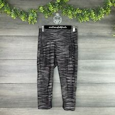 Bally Total Fitness Leggings Womens Small S Black Multi Stripe Mesh Hem Crop