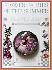"""HELIOTROPE FAIRY Glass Dome BUTTON 1 1/4"""" VINTAGE Cicely Mary Barker FLORAL ART"""