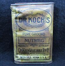 Vintage Dr Koch's Pure Nutmeg Tin Dr Koch Vegetable Tea Co. Winona, Minnesota