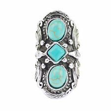 Tebetan Silver Nature Turquoise Cameo Statement Cocktail Three Stone Finger Ring