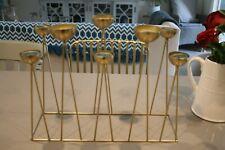 GOLD DECORATIVE TEA LIGHT CANDLE HOLDER CENTRE PIECE & CANDLES