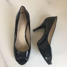 9f5806e3ed9 Nine West Sz 6.5M Peep Toe Black Patent Leather Pumps High Heel Career Shoe