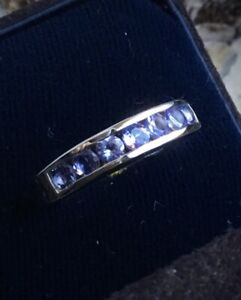 Brand NEW Natural Tanzanite Channel Set Band Ring, High Polish Platinum, Size 5