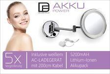 DEUSENFELD WLED500A - AKKU Wand LED Kosmetikspiegel Rasierspiegel 5-fach,ø 20cm