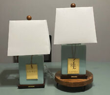 Ralph Lauren Light Pale Blue Smooth Finish Porcelain Table Lamp & Shade New