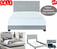 King Queen Full Twin Size Platform Bed Wood Frame Tufted Headboard Gray Fabric
