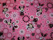 Minnie Mouse Flowers Pink Disney 100% Cotton Fabric 1/2 Yard Precut