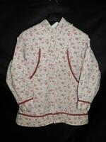 Alaska Native Eskimo Kuspuk L Cream Pink Floral Shirt Jacket Full Zip Hood Lg