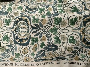 Little Chintz Fabric William Morris Fennel and Slate Blue 2m
