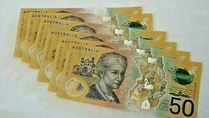 6 X AUSTRALIAN 2018 $50 DOLLAR NOTESIN SEQUENCE  LOWE/FRASER, NEW ISSUE, UNC