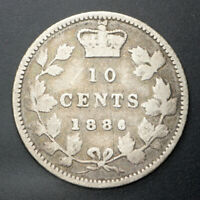 1886 Canada 10 Cents - Small 6 - SILVER - Very Nice Old Coin - RARE