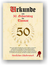 Urkunde zum 50. GEBURTSTAG Geschenkidee Geburtstagsurkunde Namensdruck Partydeko