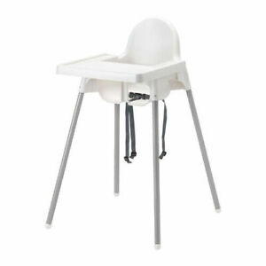 IKEA Antilop High Chair with Tray - Silver/White-290.672.93