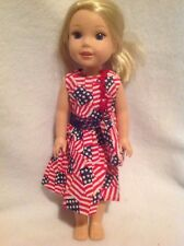 "Wellie Wishers Sparkly flag Dress & purse 14"" doll clothes outfit American Girl"