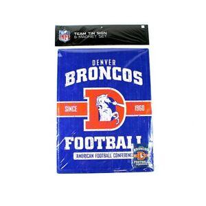 """Denver Broncos 16"""" by 12"""" Tin Sign & Magnet - NFL"""