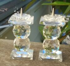 Set of 2 Swarovski Full Lead Crystal Pin Candle Holders 2 Balls Vintage Perfect