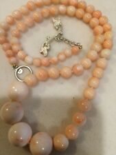Cathy Carmendy Natural Pink Coral Bead Necklace Sterling Silver Toggle