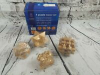 GAZEBO GAMES MUDDLERS 4 PUZZLE TEASER SET WOODEN PUZZLES COMPLETE