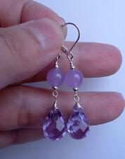 Lavender Jade Sterling Silver Earrings Dangling Faceted Lavender Quartz W.