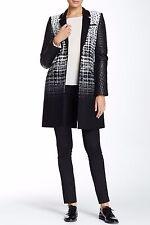 L.A.M.B. Black & White Jacquard Wool Leather Combo Coat Women's Jacket * 6 $825