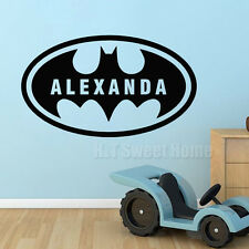 Batman Custom Name Bat Boys Room Removable Vinyl Wall Sticker Decals Kids Room