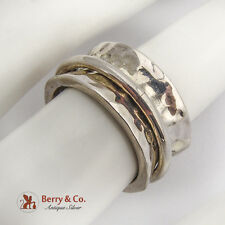Wide Hammered Spinner Ring Band Sterling Silver Mexico