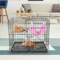 2-Tier Folding Metal Cage Pet Dog Cat Fence Exercise Portable Playpen Kennel