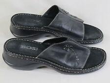 Bos & Co Black Leather Open Toe Mules Size 9 M US Excellent Condition EUR 40