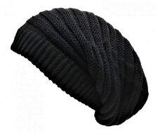 Rasta Black Beanie Hat Long Slouch Ribbed Baggy Marley Reggae Style